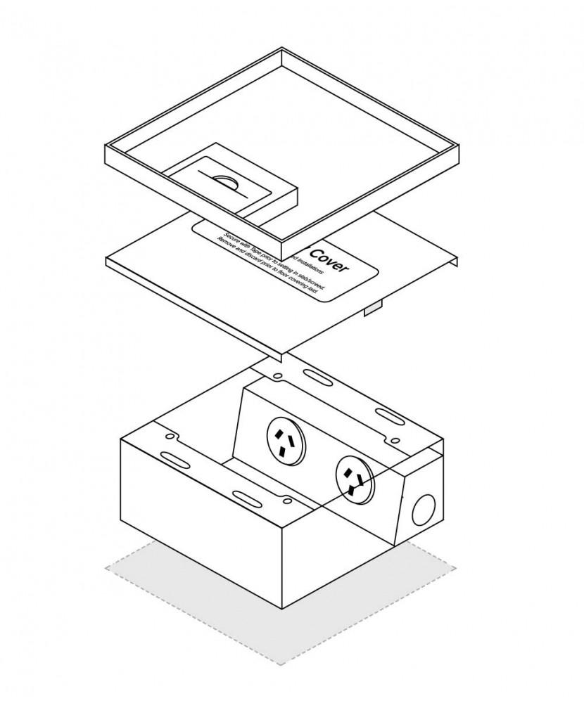 FFOB-149/2A Floor Box 2 x 10Amp Round Auto switched GPOs