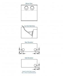 FFOB-142 Floor Box 2 x 10Amp Round Auto switched GPOs